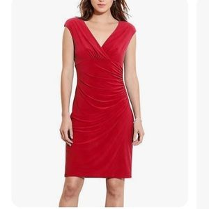 Ralph Lauren Barolo Red Runched form fitting Dress
